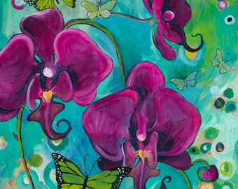 "Dancing Butterflies, 8"" x 10"" PRINT - orchids, butterflies, purple, turquoise, insects, orchid painting, butterfly art"