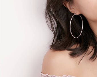 Delicate Gold/Silver Large oval Hoop Earrings - Wire Earrings - Hoop Earrings
