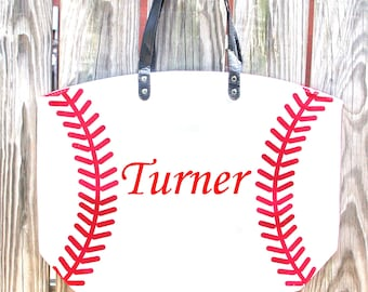Baseball Canvas Tote Bag - Custom Embroidered Bag