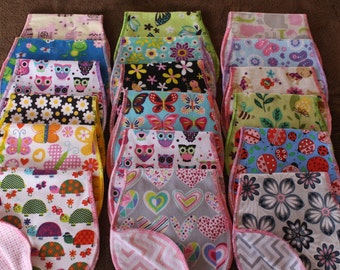 Three Flannel Baby Burp Cloths, Double Layer, All Girl, All Boy, All Baby, or Select your own fabric, Set of 3 - NEW FABRIC CHOICES