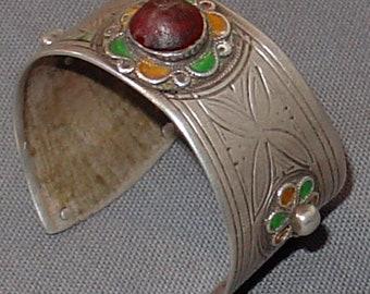 old berber tribal silver  enamelled braclet