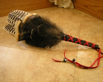 "Turkey Feather Fan 18.5"" long with wing section, wrapped in black deerskin leather, black agate gemstone & silver beads #1808"