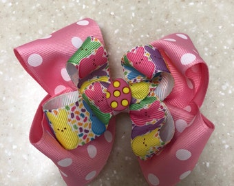 Easter Themed Pink Peeps 5 Inch Bow Boutique Bow with Alligator Clip Polka Dots