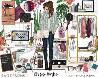 Boss Babe Fashion Girl Clip Art Watercolor Clipart PNG Office Style Blogger Gold Glitter Hand Drawn Illustration Planner Sticker Graphics