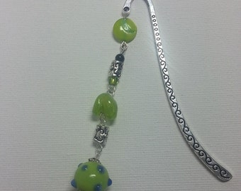 Metal bookmark with   green glass beads