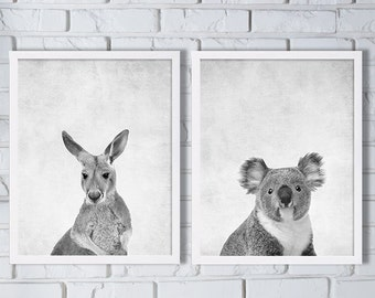Australia Animal Prints Two Print Set Kangaroo Print Koala Bear Print Animal Art Grey Prints Down Under Art Modern Decor Animal Nursery Art