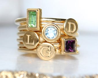Mother's Day Gift. Create Your Own Gold Stacking Ring Set with Initials and Birthstones. Gold Stackable Rings, Personalized Gift for Mom!