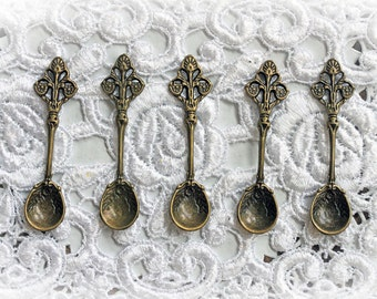 Reneabouquets Brass Spoons Trinkets 5 Pack~ Metal Scrapbook Embellishment, Craft Supply, Jewelry Charm