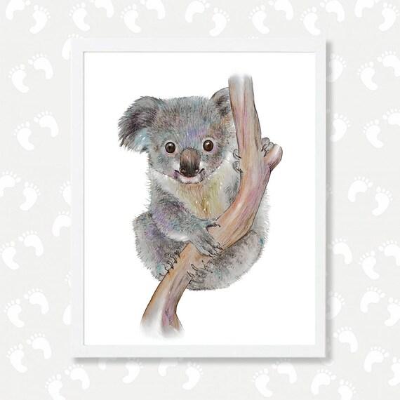 Koala Print Koala Bear Art Koala Watercolor Painting Nursery