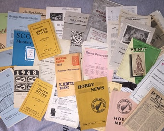 SALE 1940s Stamp Collection Catalogs And Hobby News Pamphlets and Booklets Stack of Them with Price Guides, etc.
