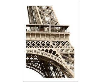 Paris Photography Eiffel Tower Print France Art Sepia Photograph-R