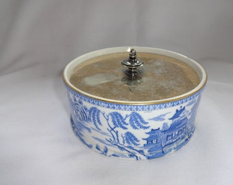 Chinese Porcelain Box with silver lid