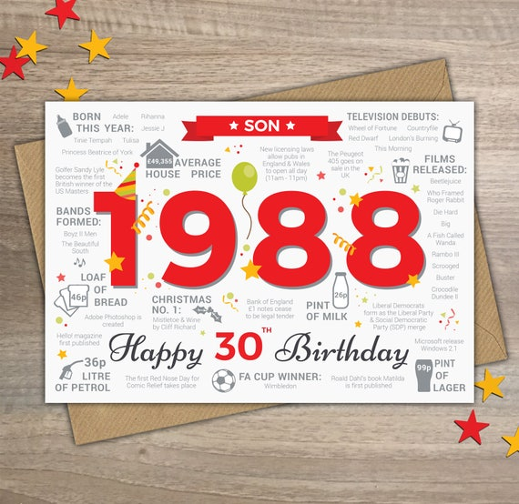 Happy 30th Birthday Son Greetings Card Born In 1988 Year Of