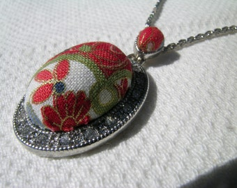 """Japanese oval pendant: a repurposed upcycled Japanese themed cotton fabric + diamante silvertone metal oval pendant 18"""" silvertone chain"""