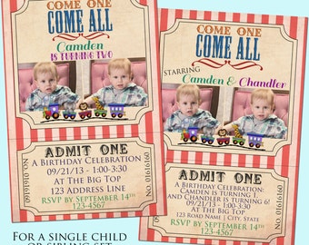 Circus/Carnival Birthday Invitation with Photo - Ticket, Vintage Stripe - Printable - 4x6 - Single Child, Sibling or Twins