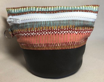 Small Traveling Yarn Bowl Project Bag - Color Bands