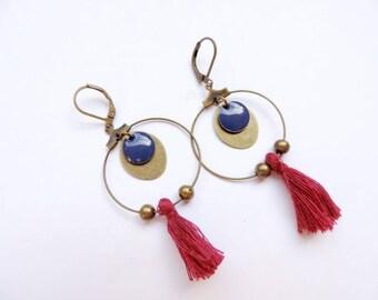 Boucles d'oreilles - pompon (bordeaux)