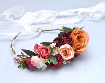 Wedding floral crown Bridal floral crown Floral bridal crown Bridal flower crown Bridal hair wreath Flower headband Maternity photo props