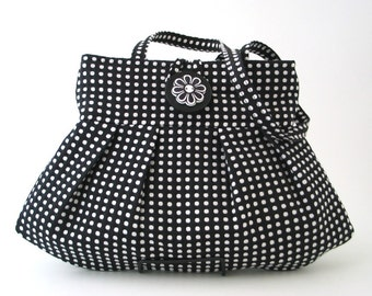 polka dot bag,  Black purse, retro bag, black handbag, shoulder bag, fabric bag, womens handbag, retro purse, gift for her