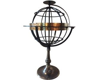 Vintage Armillary Sphere in Wrought Iron and Brass, circa 1850