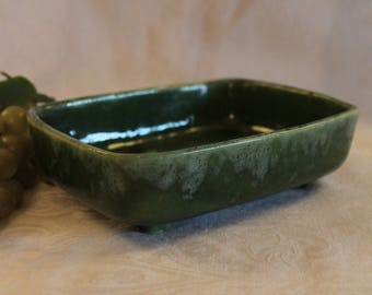 Ungemach Pottery Green Dripware Rectangular Planter - Upco 390, Vintage, Indoor, Planters, Flower Pots