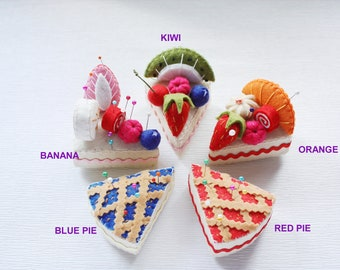 felt food, felt fake cake, pretend play, faux food, tiny cake slice, felt pincushion, cute cake pincushion, miniature cake, felt toy food