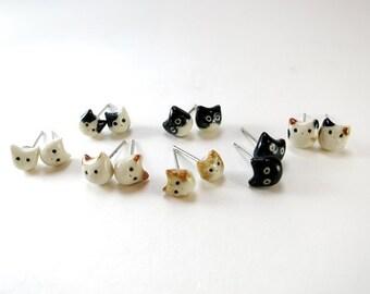 Tiny Cat Earrings Cat Stud Cat Jewelry Gift Cat Lover Black Cat Calico Tuxedo Cat Black White Orange Tabby Cat Earrings Kitty Ceramic Stud