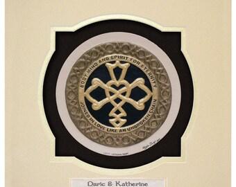 Personalized Celtic Wedding Knot  -Cast Paper - Celtic Blessing - wedding gift - Irish art - Celtic art - Scottish art