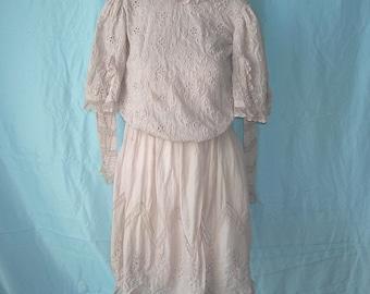 Vintage Edwardian Victorian Normandy Lace Batiste Day Dress