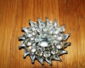 Vintage Clear Rhinestone Brooch/Pin marked DFA