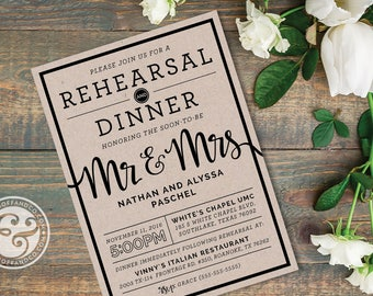 Flowing Brush Script Rehearsal Dinner Invitation, Printable or Printed - A Rehearsal & Dinner Honoring the Soon-to-be Mr. and Mrs.