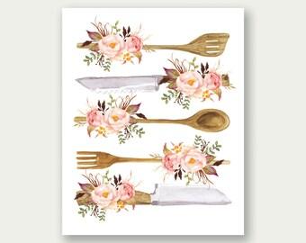Kitchen Utensils Print, Floral Kitchen Utensils, Floral Kitchen Art, Spoon Printable, Knife Printable, Rustic Kitchen Art, Floral Fork Print
