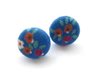 16mm Blue fabric covered button stud earrings, post earrings, red flower fabric earrings, ear studs jewelry, 5/8""