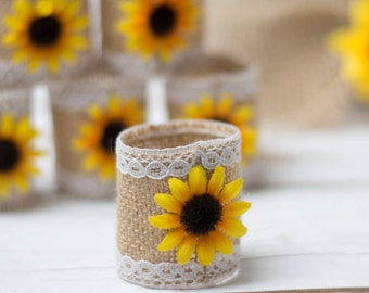 Sunflower Table Napkin Rings Rustic Wedding Napkins Ring Burlap Table decor Sunflower napkin Lace rings Set of 20