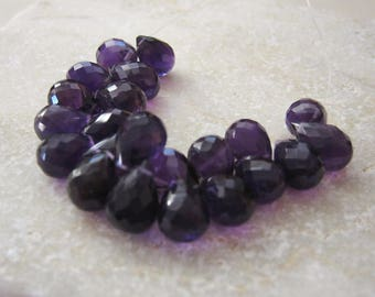 Purple Amethyst Faceted Briolette Beads 6x8 to 6.5x9mm - 22 Beads