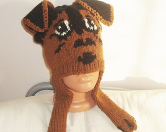 Airedale Terrier Hand Knitted Hat, Dog Hat Adult, Airedale Terrier Hat, Winter, Hand Knit Hat, White Brown Black