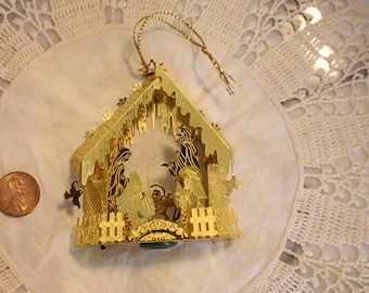 Vintage Brass Manger Christmas Ornament hanging ornament Spot to add a light