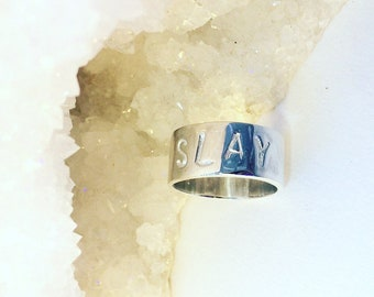 Customised Handstamped Silver Ring