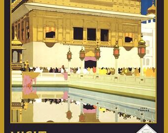 Visit India. Vintage Travel/Tourism Print/Poster