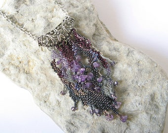 Amethyst Freeform Necklace, Unique Beadweaving Necklace, OOAK Beaded jewelry, purple bohemian necklace, boho silver and violet necklace