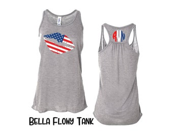 Lips - american flag - tank top - women - personalized - 4th of July - graphic tee - shirt - fourth of July - patriotic - plus size
