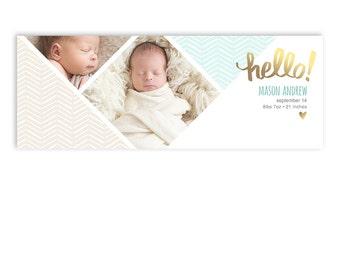 Boy or Girl Baby Birth Announcement Facebook Cover Template - Mason - 1293