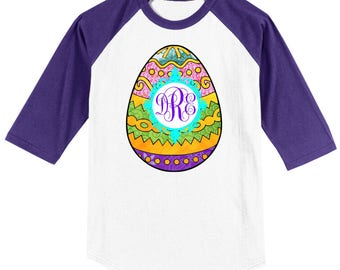 Easter Egg Monogrammed Raglan T shirt 3/4 length sleeved baseball style - several colors, sizes available Youth Extra Small through Adult 4X
