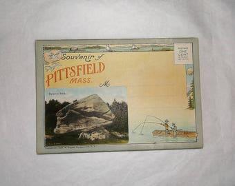 Vintage PITTSFIELD MASS. fold out Souvenir Postcard