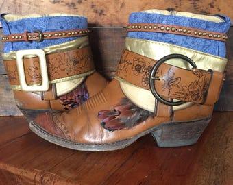 Tony Lama upcycled Western cowboy boots women's size 10 1/2