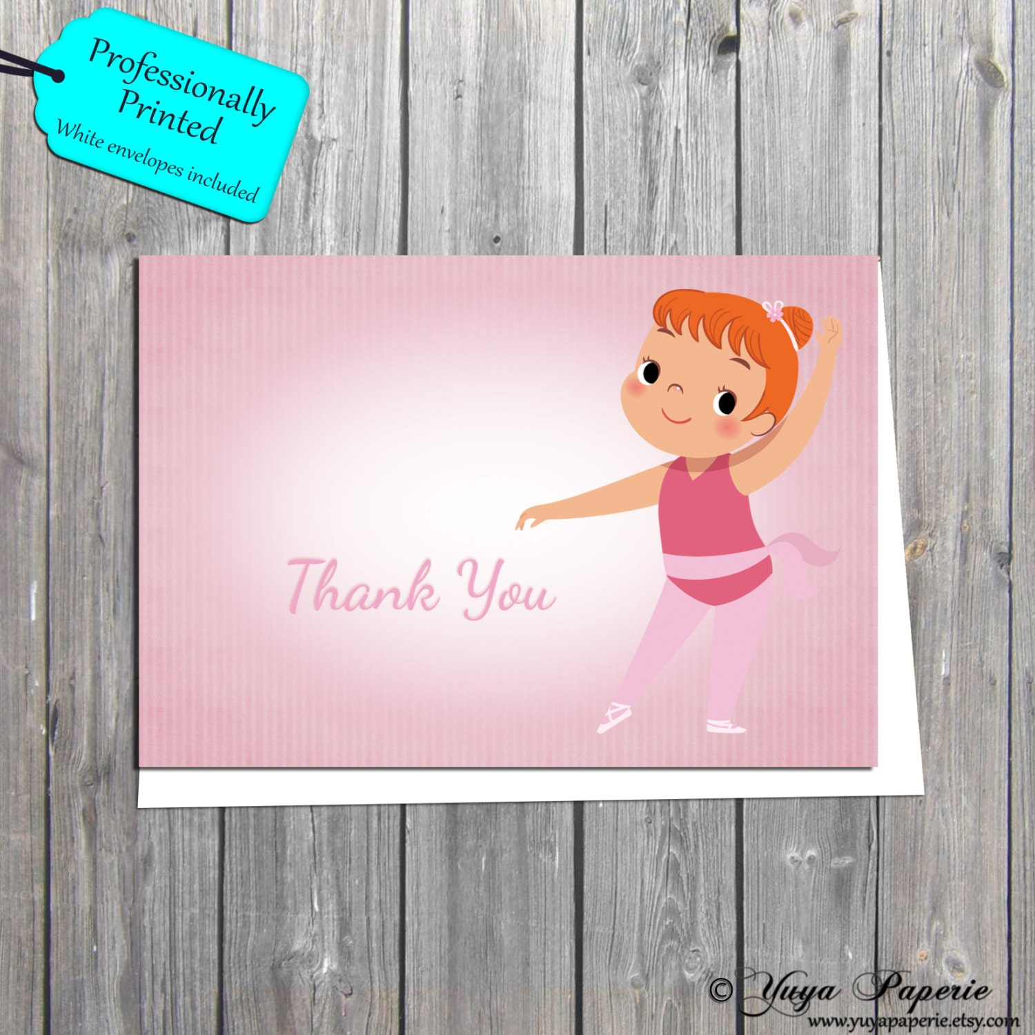 Ballerina thank you card kids thank you cards ballerina party ballerina thank you card kids thank you cards ballerina party thank you note cards professionally printed also available in digital format kristyandbryce Gallery