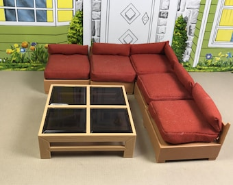 "TOMY LIVING ROOM Modular Chairs & Table, 1:18 Lundby Scale, ""Better Homes and Garden"", 1970's to 1980's, Vintage Dollhouse Furniture"