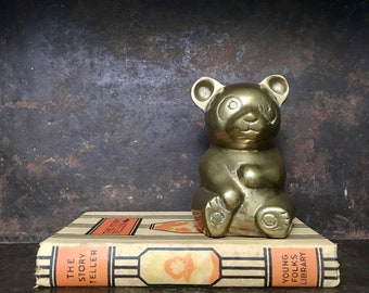 Vintage Brass Teddy Bear Statue