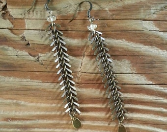Antique brass fishbone chain earrings with rutilated quartz and raw brass teardrops