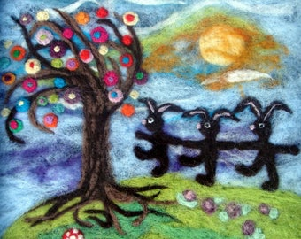 Needle Felted Painting, Wool Painting, Painting, Bunny Painting, Felted Painting, Needle Felted Picture, Wool Picture, Felted Picture